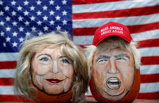 The images of U.S. Democratic presidential candidate Hillary Clinton (L) and Republican Presidential candidate Donald Trump are seen painted on decorative pumpkins created by artist John Kettman in LaSalle, Illinois, U.S., June 8, 2016. (Photo by Jim Young/Reuters)