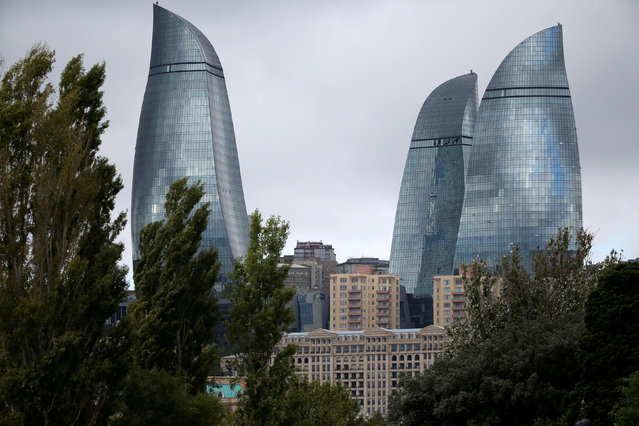 The Flame Towers are seen in Baku, Azerbaijan, October 2, 2016. (Photo by Alessandro Bianchi/Reuters)