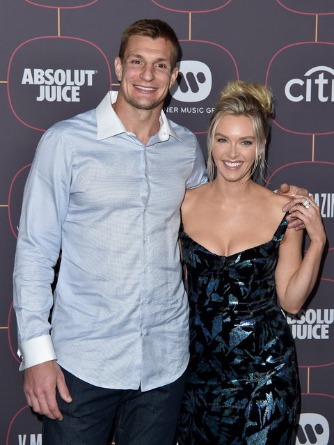 Rob Gronkowski and Camille Kostek attend Warner Music Group Pre-Grammy Party 2020 at Hollywood Athletic Club on January 23, 2020 in Hollywood, California. (Photo by Axelle/Bauer-Griffin/FilmMagic)