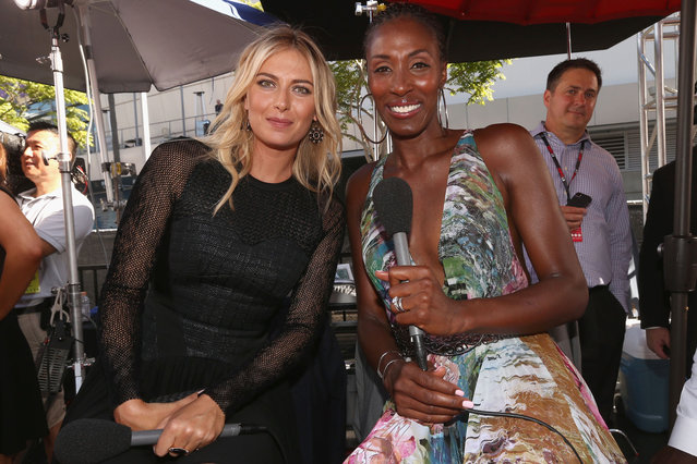 Tennis player Maria Sharapova with former WNBA player Lisa Leslie attends The 2014 ESPYS at Nokia Theatre L.A. Live on July 16, 2014 in Los Angeles, California. (Photo by Christopher Polk/Getty Images For ESPYS)