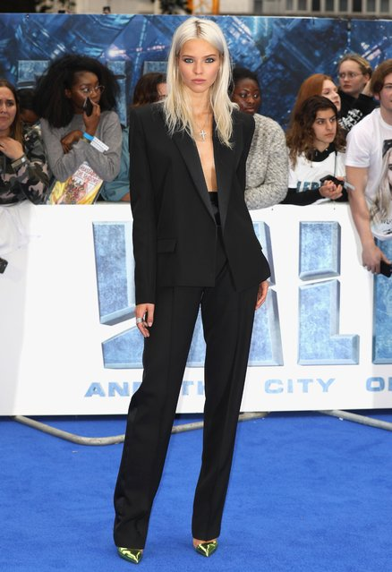 "Sasha Luss attends the ""Valerian And The City Of A Thousand Planets"" European Premiere at Cineworld Leicester Square on July 24, 2017 in London, England. (Photo by Tim P. Whitby/Getty Images)"