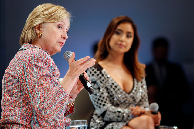 Democratic Presidential Candidate Hillary Clinton (L) with moderator Dulce Candy (R) speaks at a town hall discussion with digital content creators in Los Angeles, California, U.S. June 28, 2016. (Photo by Jonathan Alcorn/Reuters)