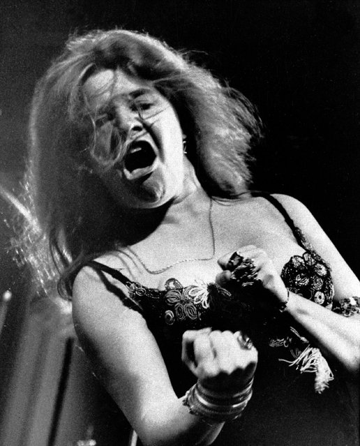 Blues/rock singer Janis Joplin performs at the Newport Folk Festival with her band Big Brother and the Holding Company, July 29, 1968. (Photo by AP Photo)