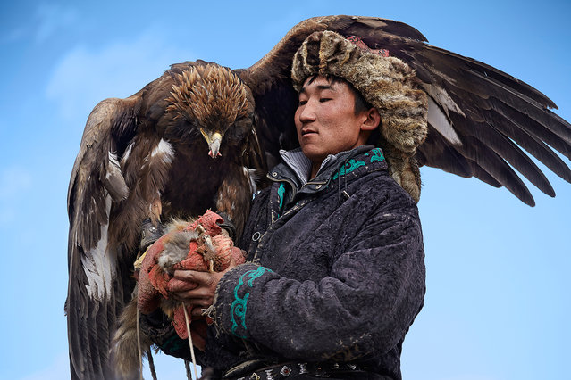 In one of the planet's most desolate and harsh terrains, the Altai Mountains which run from Siberia in Russia down to Mongolia's Gobi Desert, hunting with eagles is currently only practiced by a handful of Kyrgyz and Kazakhs. This form of falconry, the practice of hunting with the aid of birds of prey, can be traced back as far as 4,000 years in Central Asia. (Photo by Tariq Zaidi/The Washington Post)