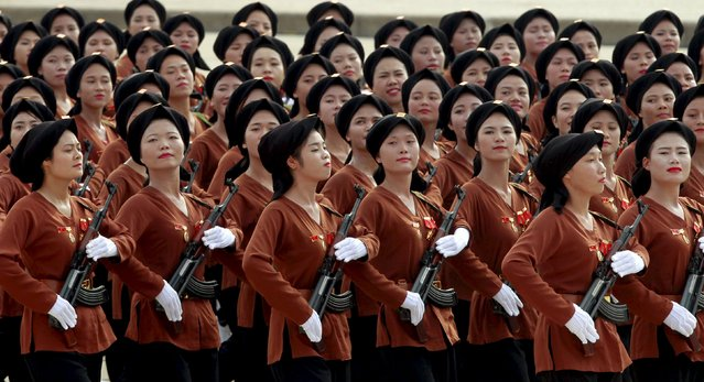 Northern Vietnamese female paramilitants march during a parade marking their 70th National Day at Ba Dinh square in Hanoi, Vietnam September 2, 2015. (Photo by Reuters/Kham)