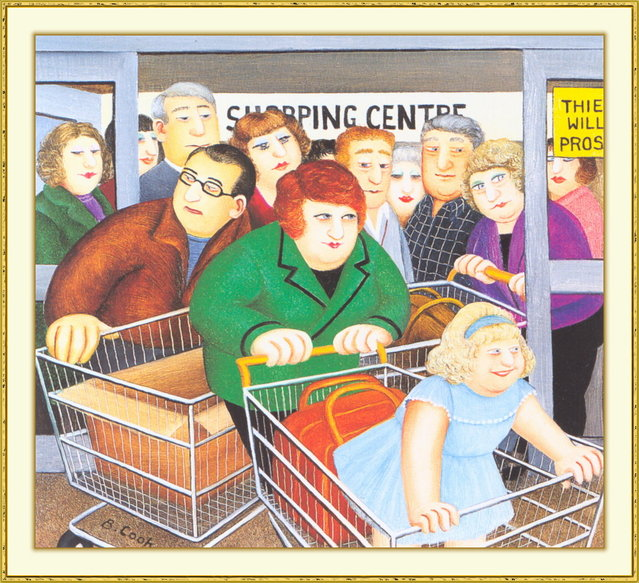 Shopping. Artwork by Beryl Cook