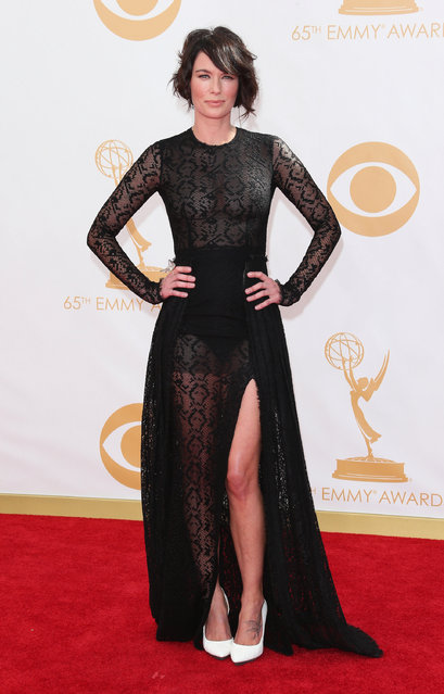 Game of Thrones star Lena Headey arrives at the 65th Annual Primetime Emmy Awards at Nokia Theatre L.A. Live on September 22, 2013 in Los Angeles, California. (Photo by Dan MacMedan/WireImage)