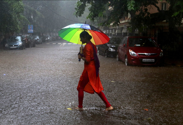 An Indian woman holds an umbrella and walks through the rain in Mumbai, India, Friday, August 5, 2016. Monsoon season in India begins in June and ends in October. (Photo by Rafiq Maqbool/AP Photo)