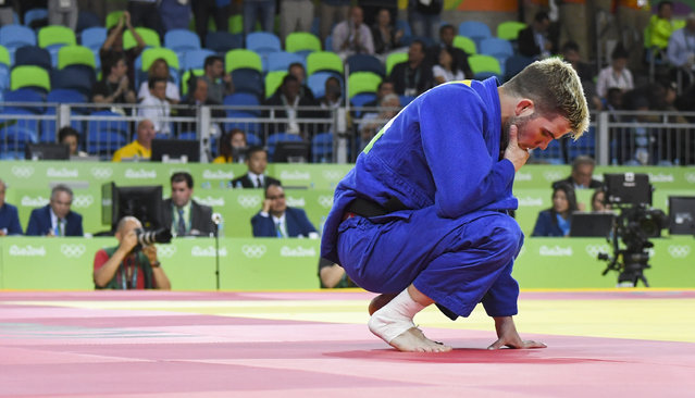 Nicholas Delpopolo (USA) reacts after he lost to Sagi Muki (ISR) in the Judo competition during the Rio Olympic Games on August 8, 2016 in Rio De Janeiro, Brazil. (Photo by Jonathan Newton/The Washington Post)