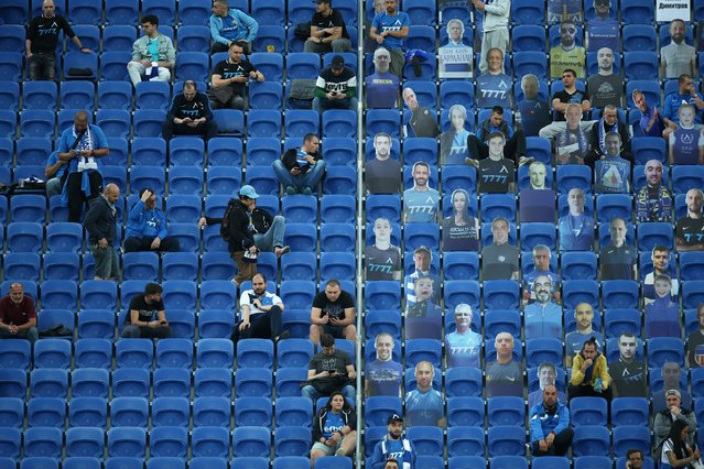 Levski Sofia fans are seen among cardboard cutouts in the stands before the match against Ludogorets, as play resumes following the outbreak of the coronavirus, on June 5, 2020 in Sofia, Bulgaria. (Photo by Stoyan Nenov/Reuters)