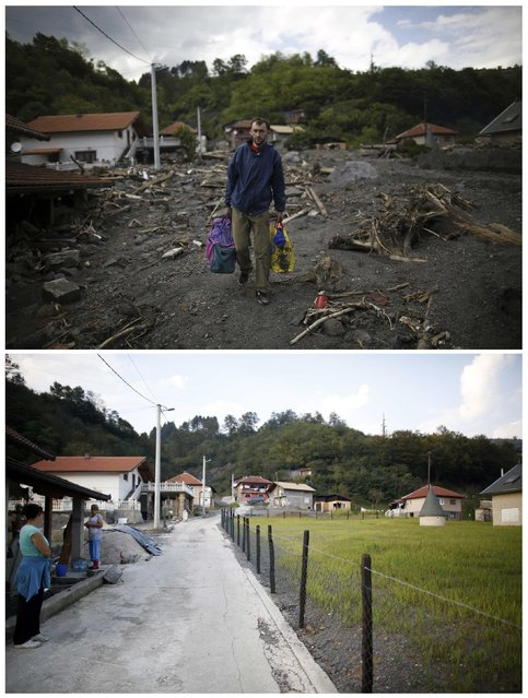 A combination photo shows a man carrying belongings recovered from his house during floods May 20, 2014 (top) and the same place after floods October 8, 2014 in Topcic Polje. (Photo by Dado Ruvic/Reuters)