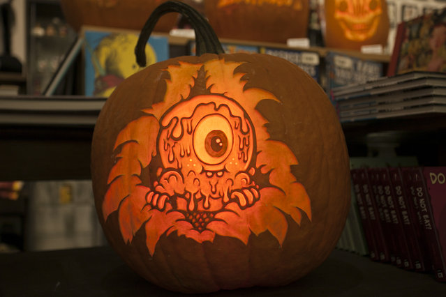 A Buff Monster pumpkin created by the Maniac Pumpkin Carvers at Cotton Candy Machine in Brooklyn, N.Y. on October 18, 2014. (Photo by Siemond Chan/Yahoo Finance)