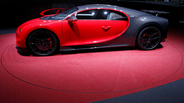 The new Bugatti Chiron is presented during the press day at the 88th Geneva International Motor Show in Geneva, Switzerland on Tuesday, March 6, 2018. (Photo by Denis Balibouse/Reuters)