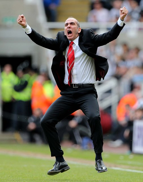 Sunderland's manager Paolo Di Canio celebrates after Stephane Sessegnon scores his goal during their English Premier League soccer match against Newcastle United at St James' Park, Newcastle, England, on April 14, 2013. (Photo by Scott Heppell/Associated Press)