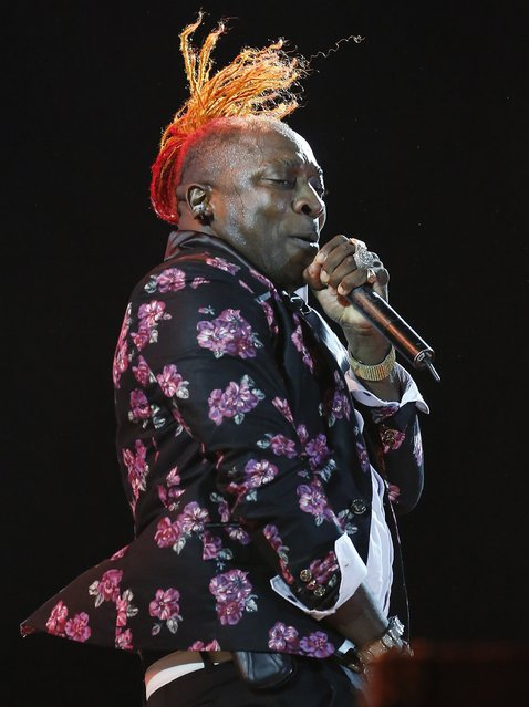 Jamaican dancehall artist Elephant Man performs at the Sting 2014 concert in Kingston, December 27, 2014. (Photo by Gilbert Bellamy/Reuters)