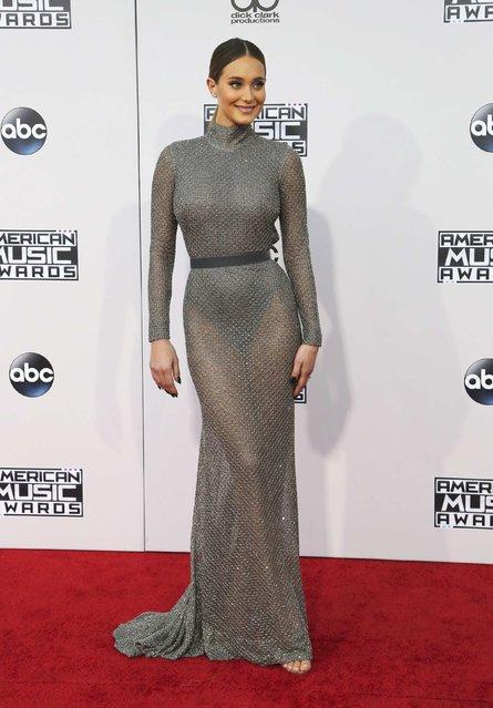 Model Hannah Davis arrives at the 2015 American Music Awards in Los Angeles, California November 22, 2015. (Photo by David McNew/Reuters)
