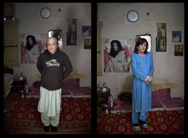 This combination of two images taken on Thursday, January 8, 2015, shows Pakistani Arfeen Nasar, 49, posing for a picture at his place in Rawalpindi, Pakistan. (Photo by Muhammed Muheisen/AP Photo)