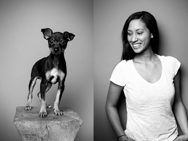 "Pet owner Angelika with her Mallorcan ratting dog, ""Batman"". (Photo by Tobias Lang)"
