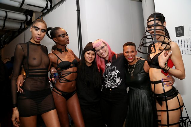 Designer Becca McCharen poses for a picture with models backstage at the Chromat AW15: Mindware fashion show during Mercedes-Benz Fashion Week Fall 2015 at Milk Studios on February 13, 2015 in New York City. (Photo by Monica Schipper/Getty Images for Chromat)