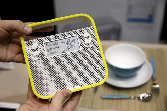 """The Triby by Inoxia, a WiFi and Bluetooth-enabled device for the kitchen, is displayed during """"CES Unveiled,"""" a preview event of the 2016 International CES trade show, in Las Vegas, Nevada January 4, 2016. The $199.00 device has an Internet phone, a speaker for music, and a connected message board. (Photo by Steve Marcus/Reuters)"""