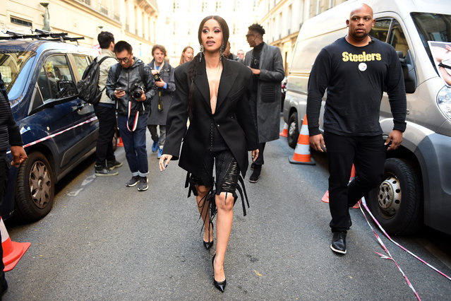 Cardi B is seen arriving at Mugler fashion show during Paris Fashion Week Womenswear Spring/Summer 2019 on September 26, 2018 in Paris, France. (Photo by Jacopo Raule/Getty Images)