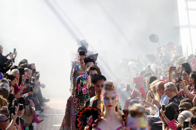 Models wear creations for Manish Arora's Spring/Summer 2019 ready-to-wear fashion collection presented in Paris, Thursday, September 27, 2018. (Photo by Christophe Ena/AP Photo)
