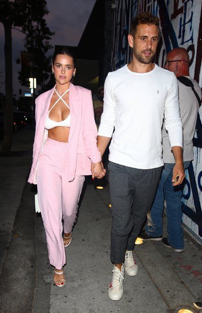 The Bachelor star Nick Viall seen stepping out for dinner with his girlfriend Natalie Joy at Craig's Restaurant in Los Angeles, CA. on June 29, 2021. (Photo by Backgrid USA)