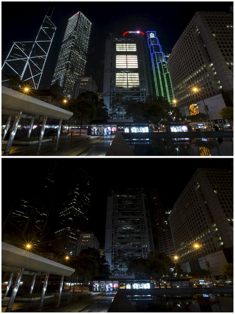 A combination picture shows Hong Kong's central financial district's (from L to R) Bank of China Tower, Cheung Kong Centre, HSBC headquarters, Standard Chartered Bank before and during Earth Hour March 28, 2015. (Photo by Tyrone Siu/Reuters)