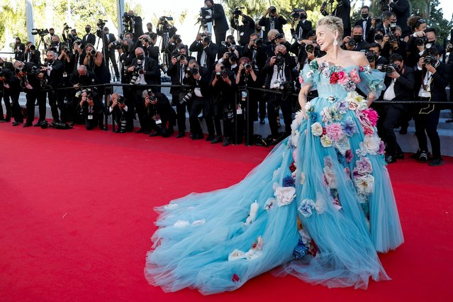"""US actress Sharon Stone arrives for the screening of the film """"A Felesegem Tortenete"""" (The Story Of My Wife) at the 74th edition of the Cannes Film Festival in Cannes, southern France, on July 14, 2021. (Photo by Johanna Geron/Reuters)"""