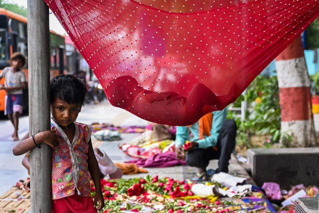 A child sleeps inside a makeshift hammock made of a saree which is a tradition Indian costume worn by women, along a road in New Delhi on August 19, 2021. (Photo by Sajjad Hussain/AFP Photo)