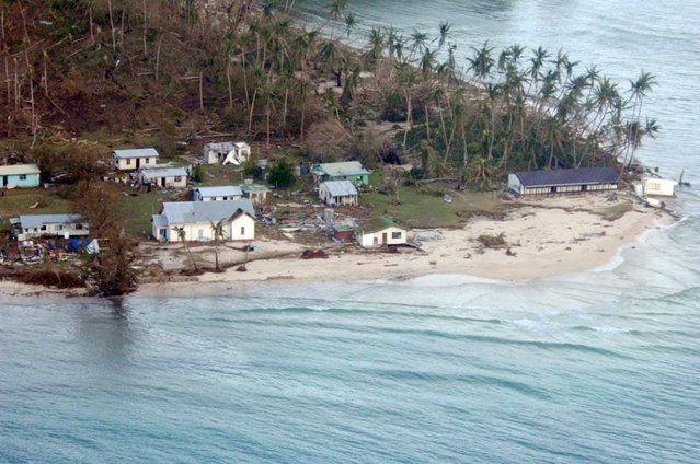 A remote Fijian village is photographed from the air during a surveillance flight conducted by the New Zealand Defence Force on February 21, 2016. (Photo by Reuters/NZ Defence Force)