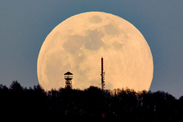A lookout tower (L) and the broadcast tower of Antenna Hungaria at the top of Karancs mountain are backdropped by the rising moon as seen from the vicinity of Karancskeszi village, 128 kms northeast of Budapest, Hungary, 20 March 2019. (Photo by Peter Komka/EPA/EFE)