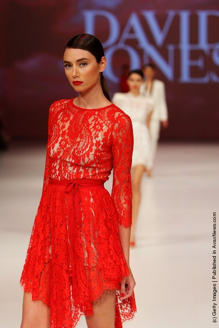 A model showcases designs by Lover on the catwalk at the David Jones Spring/Summer 2011