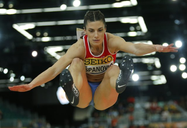 Ivana Spanovic of Serbia makes a jump on her way to winning the silver medal in the women's long jump during the IAAF World Indoor Athletics Championships in Portland, Oregon March 18, 2016. (Photo by Mike Blake/Reuters)