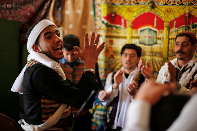 Members of the Syrian refugee folklore troupe Abu Rustom rehearse for a wedding show at Zaatari refugee camp in the Jordanian city of Mafraq, near the border with Syria February 20, 2017. (Photo by Muhammad Hamed/Reuters)