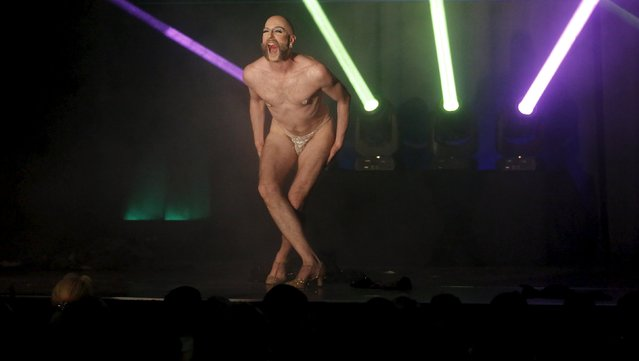 "Boylesque performer Waxie Moon from the U.S. performs on stage during the ""Yodeling Lederhosen Boylesque Gala"" at the Boylesque Festival in Vienna, Austria, May 15, 2015. Picture taken May 15, 2015. (Photo by Leonhard Foeger/Reuters)"