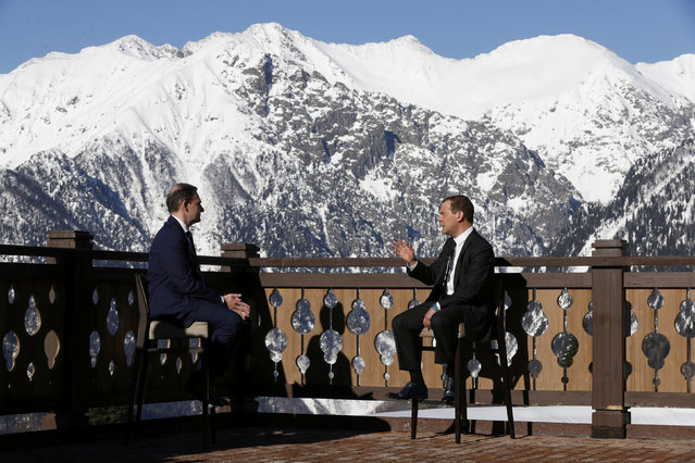 Russia's Prime Minister Dmitry Medvedev speaks while being interviewed by TV host Sergey Brilev in Sochi, Russia February 28, 2017. (Photo by Dmitry Astakhov/Reuters/Sputnik)