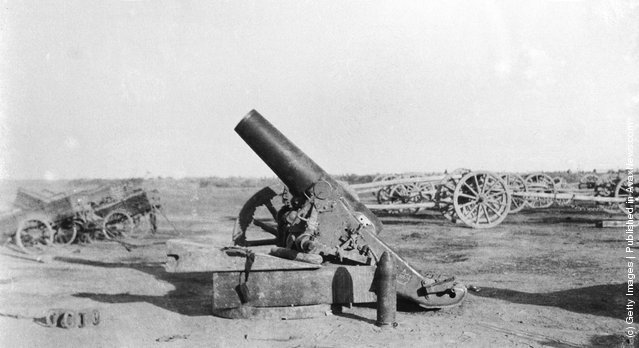 A 5.9 Howitzer captured by the British during the Mesopotamian Campaign of World War I, circa 1915