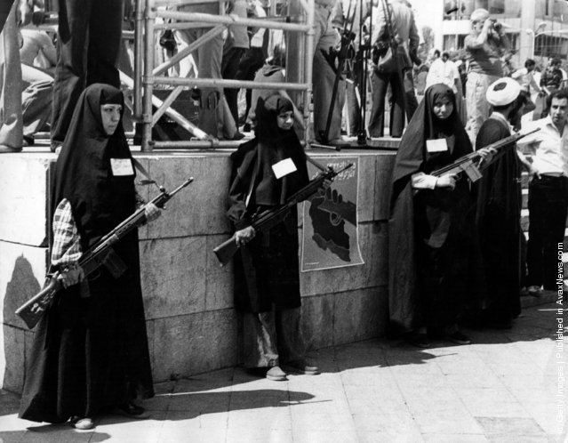Armed women on guard and participating in Khordad in one of the main squares in Tehran at the beginning of the Iranian Revolution, 1979