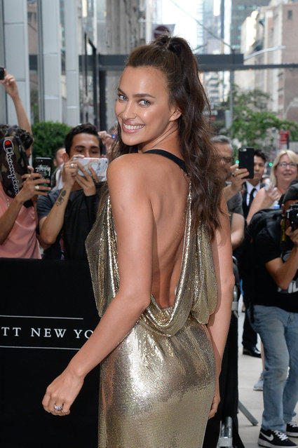 Irina Shayk arrives at the 6th annual fashion media awards at the Park Hyatt hotel  on September 6, 2018 in New York City. (Photo by Raymond Hall/GC Images)