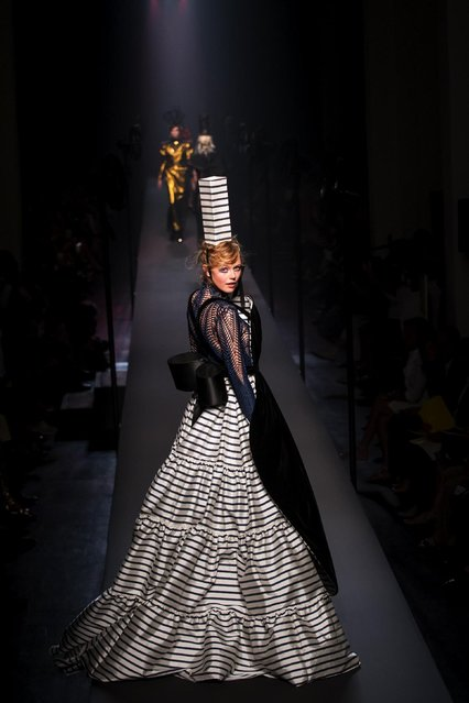 A model wears a creation for French designer Jean-Paul Gaultier's fall-winter 2015/2016 Haute Couture fashion collection presented in Paris, France, Wednesday, July 8, 2015. (Photo by Kamil Zihnioglu/AP Photo)