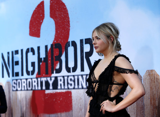 "Cast member Chloe Grace Moretz poses at the premiere for the movie ""Neighbors 2: Sorority Rising"" in Los Angeles, U.S., May 16, 2016. (Photo by Mario Anzuoni/Reuters)"