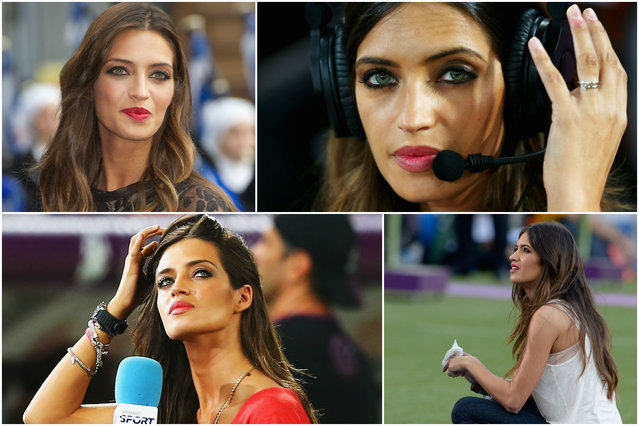 Sara Carbonero was once voted the world's sexiest journalist. The TV presenter was accused of distracting boyfriend Iker Casillas in Spain's 1-0 group stage loss to Switzerland in the last World Cup by filming around the goalmouth. It's not hard to see why. (Photo by Splash News/Getty Images)