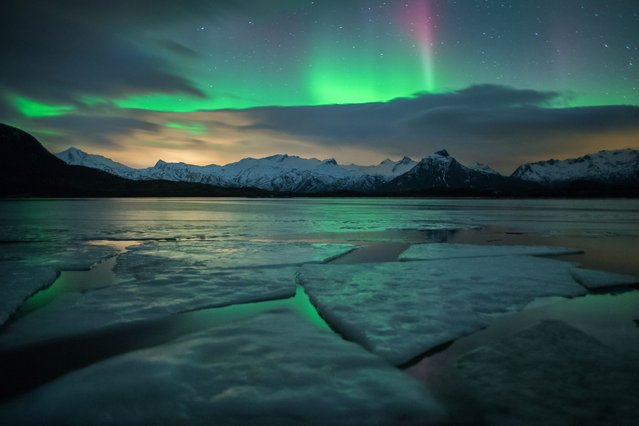 A frozen lake is transformed into a giant sheet of green as a spectacular Northern Lights show beams down onto the surface. (Photo by Christian Bothner/Solent News)