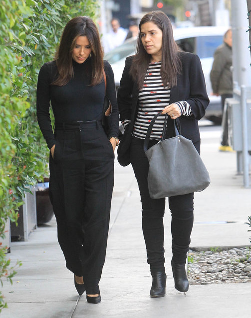 Eva Longoria and America Ferrera are seen on January 16, 2020 in Los Angeles, California. (Photo by SMXRF/Star Max/GC Images)