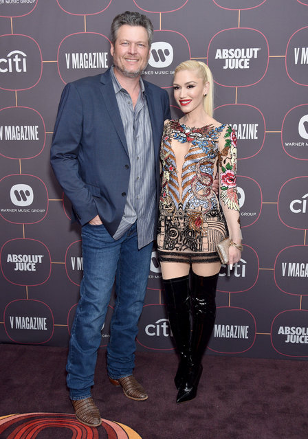 Blake Shelton and Gwen Stefani attend the Warner Music Group Pre-Grammy Party 2020 at Hollywood Athletic Club on January 23, 2020 in Hollywood, California. (Photo by Gregg DeGuire/FilmMagic)