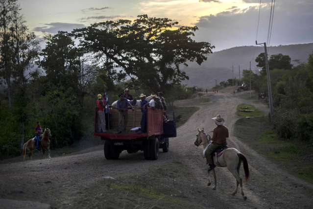 In this July 26, 2015 photo, horsemen take their horses back to a farm after a rodeo show in Santiago, Cuba. The city sits 500 miles (800 kilometers) east from Havana on highways that narrow outside the capital to roads of horsecarts, bicyclists and stray cows. (Photo by Ramon Espinosa/AP Photo)
