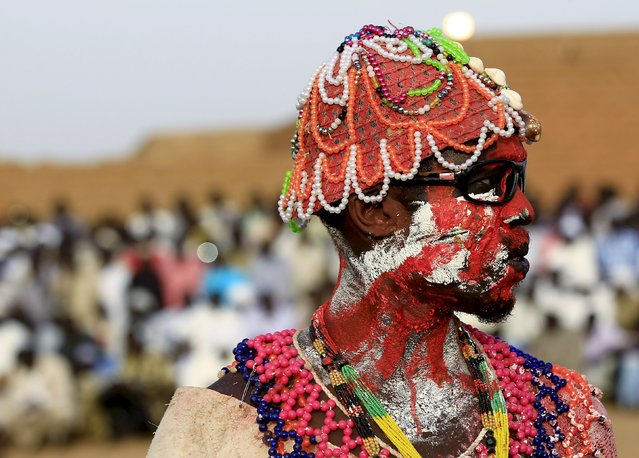 A wrestler from the Nuba Mountains tribe participates in a celebration of their cultural heritage, as part of ongoing events to commemorate the International Day of the World's Indigenous Peoples, in Omdurman August 15, 2015. (Photo by Mohamed Nureldin Abdallah/Reuters)