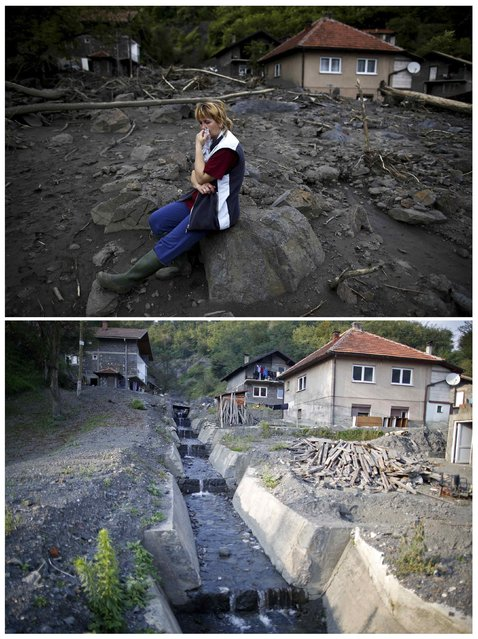 A combination photo shows Fata Kovacevic reacting near her flood-damaged house during floods May 20, 2014 (top) and the same place after floods October 8, 2014 in Topcic Polje. (Photo by Dado Ruvic/Reuters)
