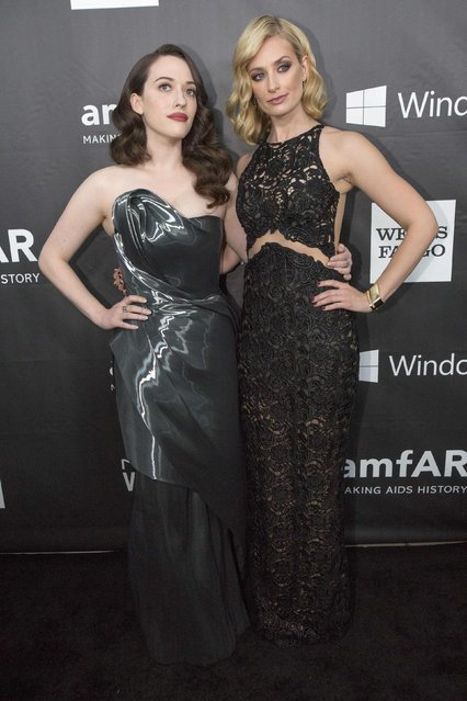 Actresses Kat Dennings (L) and Beth Behrs pose at amfAR's Fifth Annual Inspiration Gala in Los Angeles, California October 29, 2014. (Photo by Mario Anzuoni/Reuters)